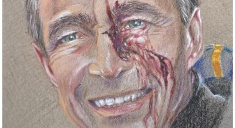 Simone Aaberg Kærns portræt af en såret Anders Fogh Rasmussen indgår i hendes nye serie af ministre, der har været med til at sende danske soldater i krig.