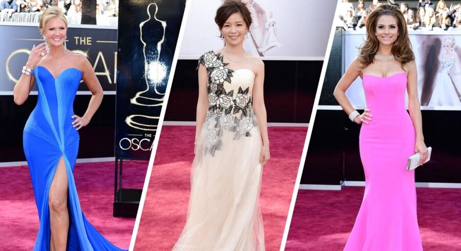 Den røde løber foran Oscar-uddelingen har til aftes været spækket med et farverigt assortiment af kjoler. Se dem her