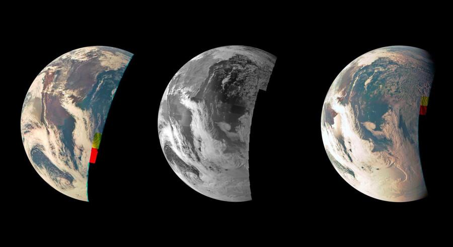 Billeder fra rumsonden Juno fra 9. oktober 2013, der angiveligt viser, at Jorden er en rund klode. Billederne er taget med i alt fire minutters mellemrum. Det første billede til venstre blev taget 19.08, og det sidste længst mod højre klokken 19.12.