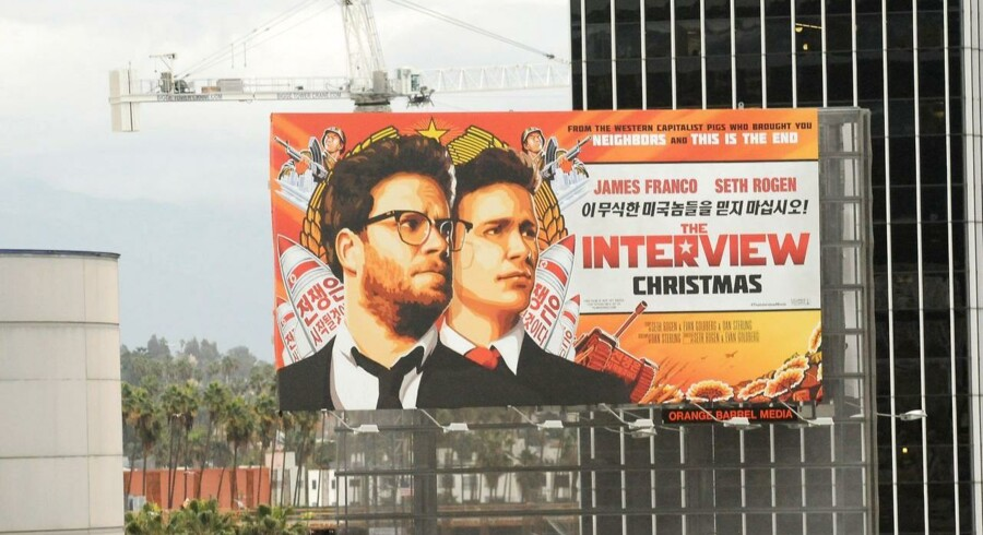 "A poster for the Sony movie ""The Interview"" is seen in Hollywood, California, December 18, 2014."