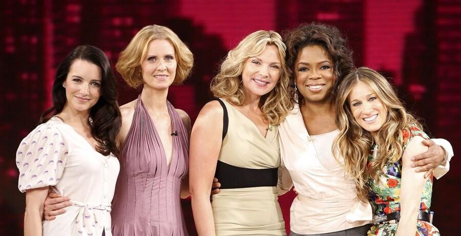 """Mange skuespillere har besøgt Oprah. Her er det kvinderne fra tv-serien """"Sex and the City"""", som er på besøg."""