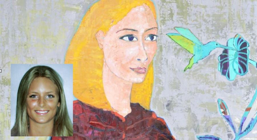 Her er et af Politimuseets 12 malerier af dræbte kvinder. Maleriet skal forestille Cecilie Kajus Næblerød (på det indsatte billede nederst til venstre), der blev dræbt af sin ekskæreste til en gymnasiefest i 2006.