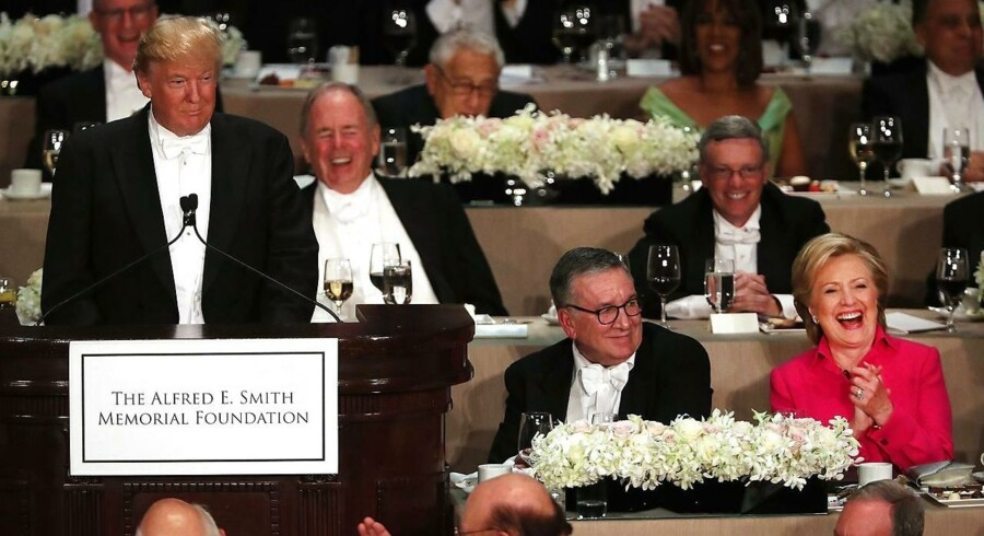 Billede fra den traditionsrige Al Smith Dinner i New York i går.