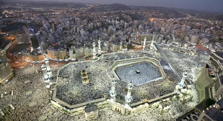 Hundredtusindvis af muslimske pilgrimme på den traditionsrige vandring rundt om kabaen – den firkantede bygning til højre i menneskehavet – i saudiarabiske Mekka. I fjor blev det årlige pilgrimsarrangement ramt af en katastrofe, som ifølge de saudiske myndigheder kostede 769 livet, mens andre kilder anslår, at helt ?op til 3.000 blev dræbt. I år har Saudi-Arabien skærpet sikkerheden yderligere af frygt for terroranslag. (Arkivfoto: Ali Jarekji/Reuters)
