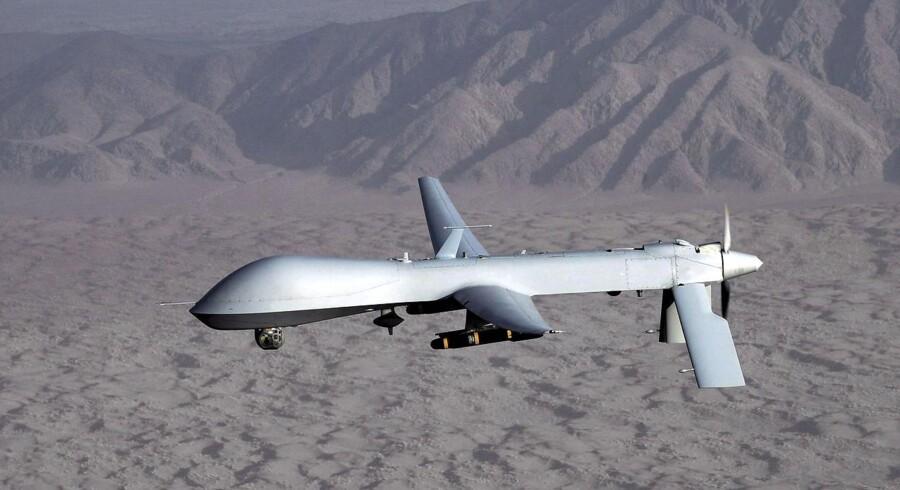 Det danske pensionsselskab PensionDanmark har investeret op mod 125 millioner kroner i selskaber, der producerer komponenter til kampdroner som Reaper og Predator, Denne drone er fra Predator.