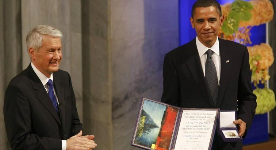 Obama med sin fredspris i Oslo i 2009.