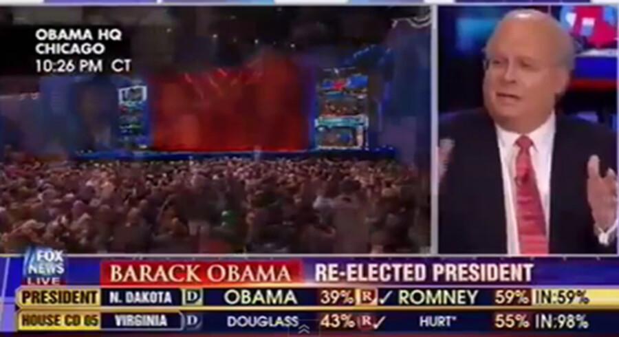 Karl Rove holdt på Fox News desperat fast i, at valget ikke var afgjort, selv om alle tv-kanaler og målinger viste sejr til Obama natten til onsdag (dansk tid).