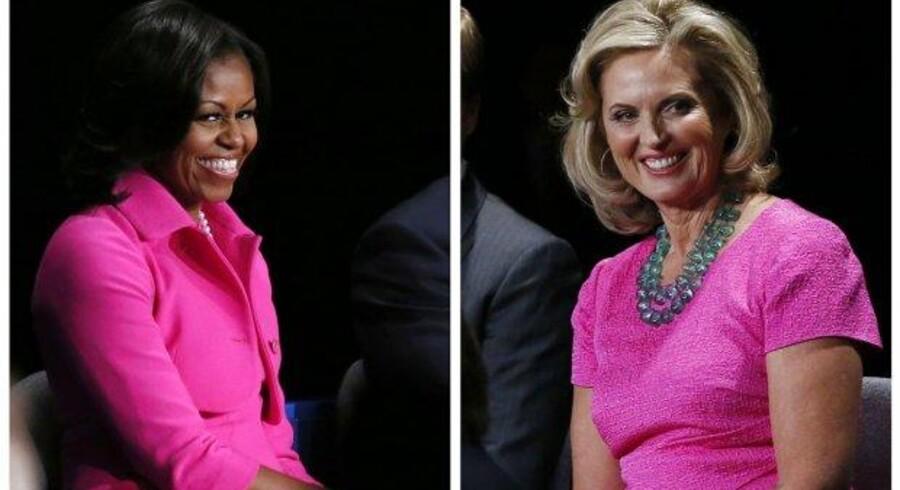 Både Michelle Obama (tv) and Ann Romney, der er gift med den republikanske præsidentkandidat, var begge i hot pink, da de hørte deres mænd debattere 16. oktober, 2012.