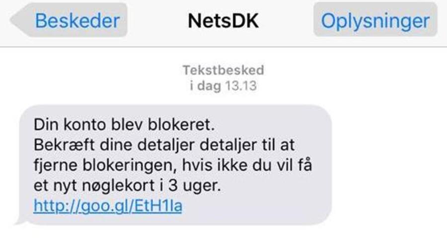 Har du modtaget denne falske sms, skal du IKKE klikke på linket.