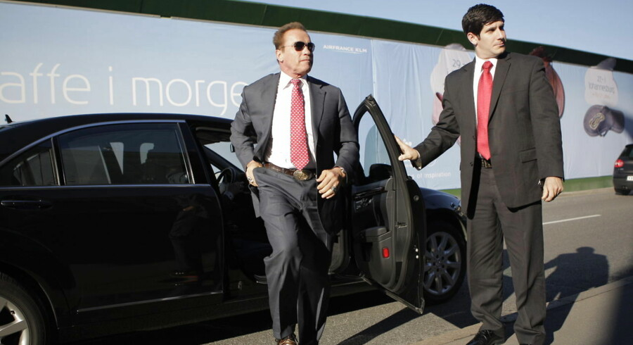 Arnold Schwarzenegger ankommer til pressemøde på Det Kgl. Teater torsdag d. 11 oktober 2012.
