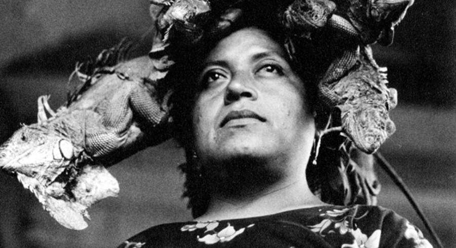 Med »Our Lady of the Iguanas« portrætterer Graciela Iturbide en kvinde med en krone af levende leguaner.
