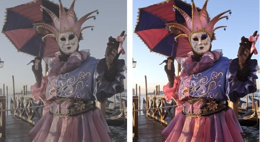 De fleste skærme kan endnu ikke gengive HDR-billedforbedringen korrekt, men Google - der står bag YouTube - har som eksempel vist dette motiv fra karnevallet i Venedig. Det demonstrerer forskellen i farvedybden mellem et almindeligt foto (til venstre) og et taget med HDR-teknologien (til højre). Foto: Google