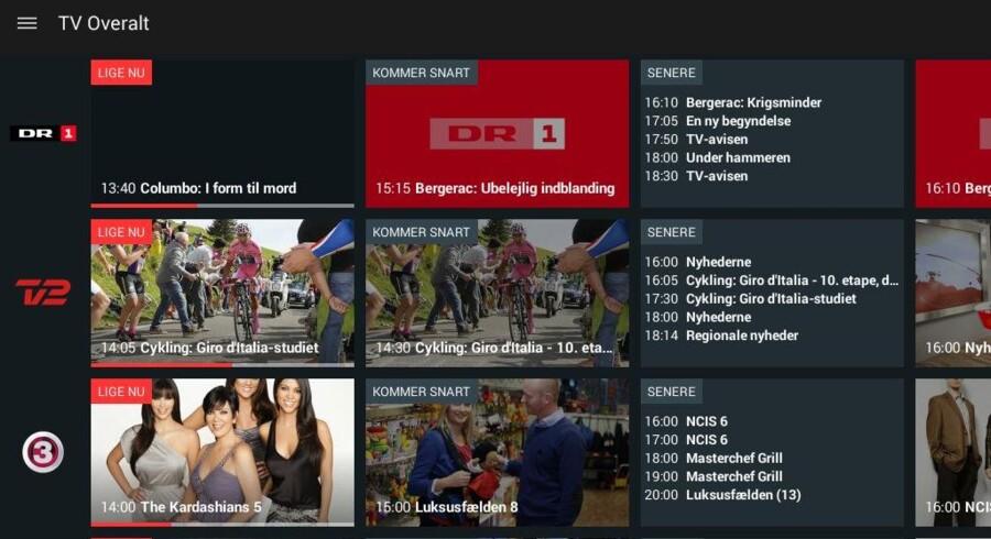 Med TV Overalt gør Viasat det nu muligt at tage TV-kanalerne hjemme fra parabolen med sig overalt, hvor der er en internetforbindelse - i første omgang dog kun på en tavle-PC, senere kommer mobiltelefoner og PCer til. TV Overalt fungerer i Viaplay-appen.