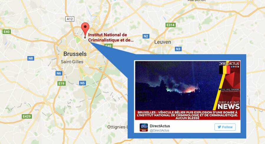 Det nationale retstekniske institut ligger i forstaden Neder-Over-Heembeek i den nordlige del af Bruxelles. Kortudsnit: Google Maps. Tweet: DirectActus
