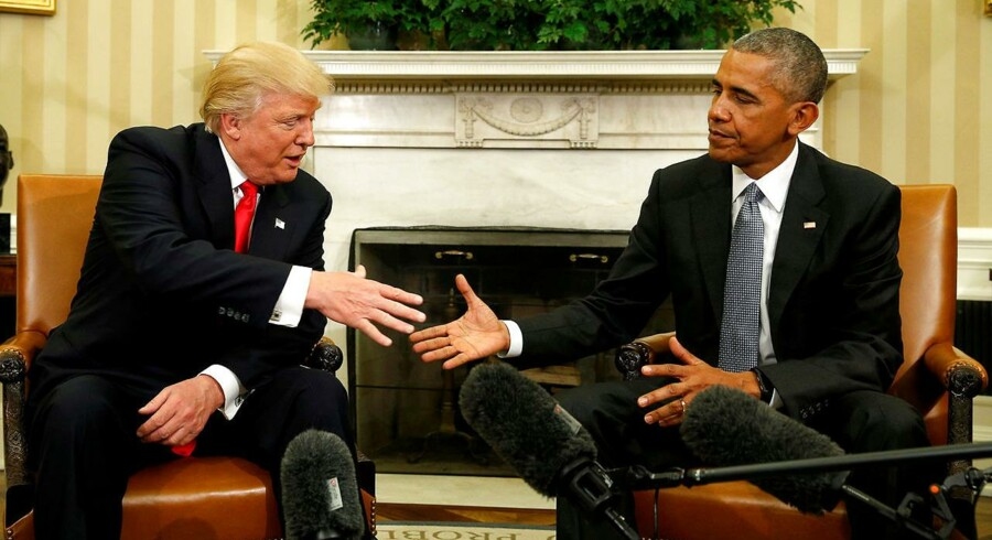 FILE PHOTO - U.S. President Barack Obama meets with President-elect Donald Trump in the Oval Office of the White House in Washington November 10, 2016. REUTERS/Kevin Lamarque/File Photo TPX IMAGES OF THE DAY