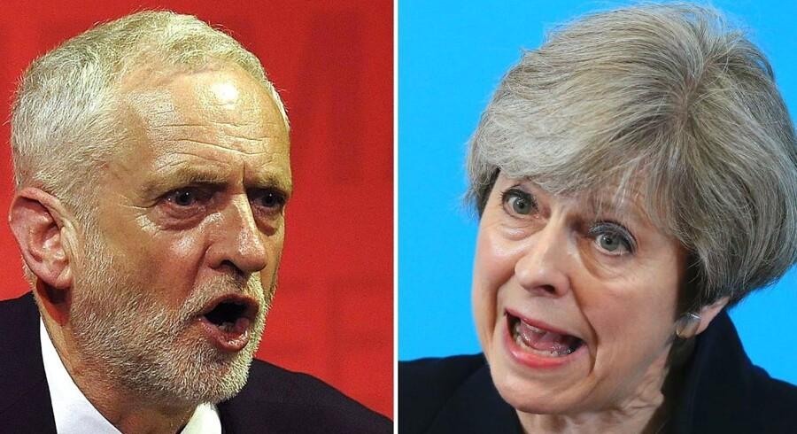 Jeremy Corbyn eller Theresa May. Det britiske valg torsdag afgør, hvem der skal være Storbritanniens premierminister, men for en del briter vil det snarere blive et fravalg end et tilvalg. Foto: AFP