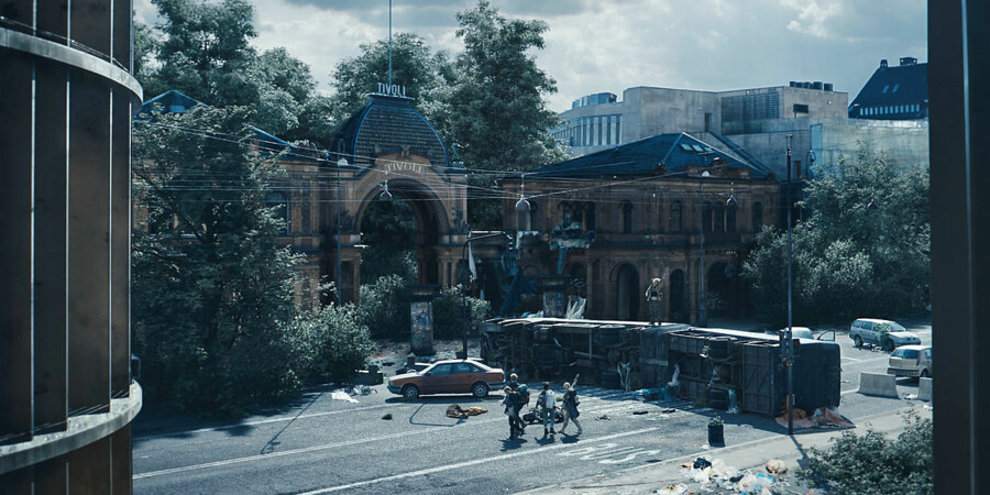 Stillfoto fra Netflix-serien »The Rain«, den første Netflix-serie produceret i Danmark.