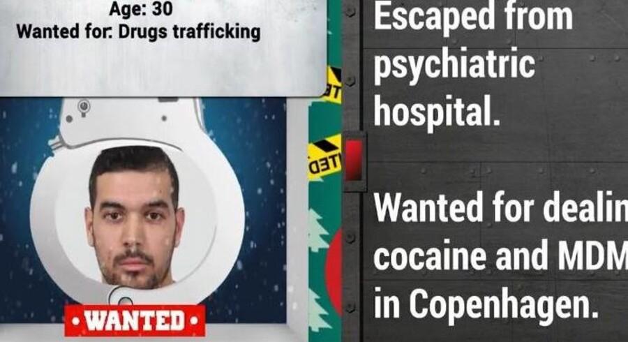 30-årige Ziad Benamor er efterlyst for at have handlet med kokain og ecstasy i København. Han gemmer sig bag låge nummer syv i Europols julekalender (screendump af Europols video). Free/Europool