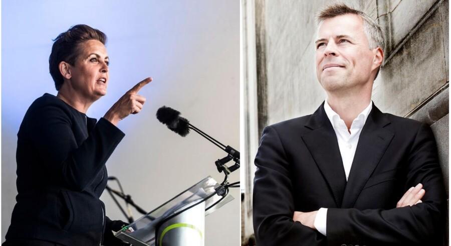 Fra højre SF's formand Pia Olsen Dyhr (Foto: Ida Marie Odgaard) og Berlingskes politiske redaktør og kommentator Thomas Larsen (Foto: Linda Kastrup).