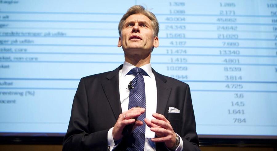 »Danske Bank har lovet, at der er ryddet op, men det har banken gjort flere gange, og tilliden er tyndslidt.« Arkivfoto af Danske Banks topchef, Thomas Borgen.