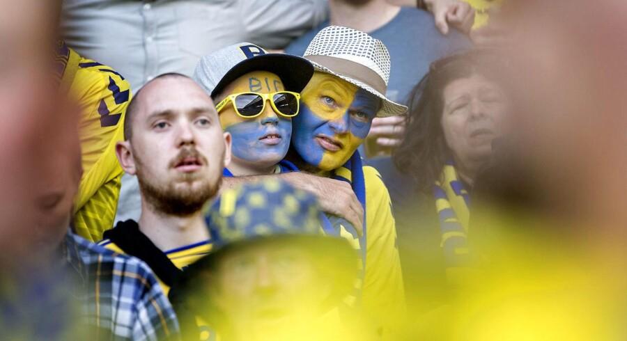 Brøndby-fans under kampen mod Aab mandag. d. 21. maj 2018.