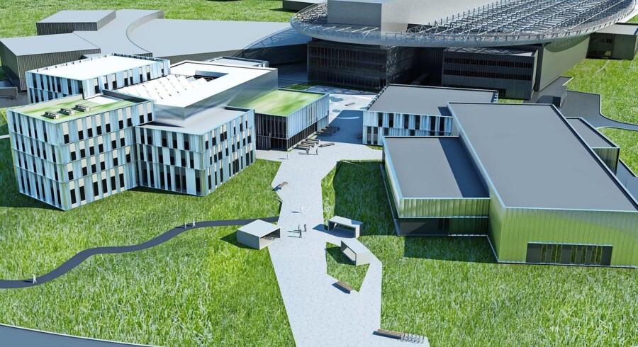 Model af European Spallation Source i Lund – verdens største mikroskop – som Danmark er med til at finansiere. Foto: PR