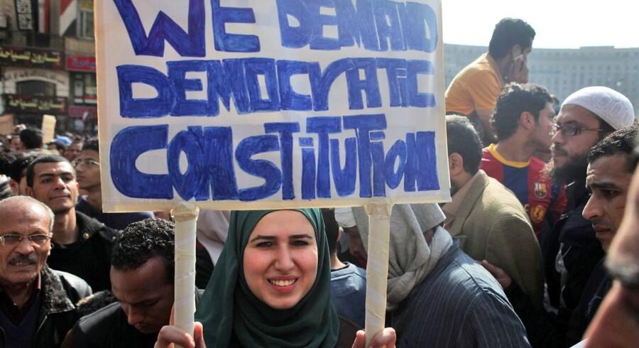 Arkivbillede. Valgdemonstration i Egypten. EPA/ANDRE PAIN