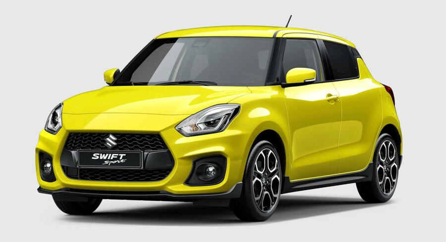 Indtil videre eneste billede af den nye Suzuki Swift Sport. Ny turbomotor vil yde i omegnen af 150 hk
