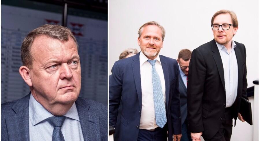 Berlingskes Thomas Larsen betegner Liberal Alliances ageren som »en kniv i ryggen på statsministeren«, Lars Løkke Rasmussen (V). Fotos: Scanpix