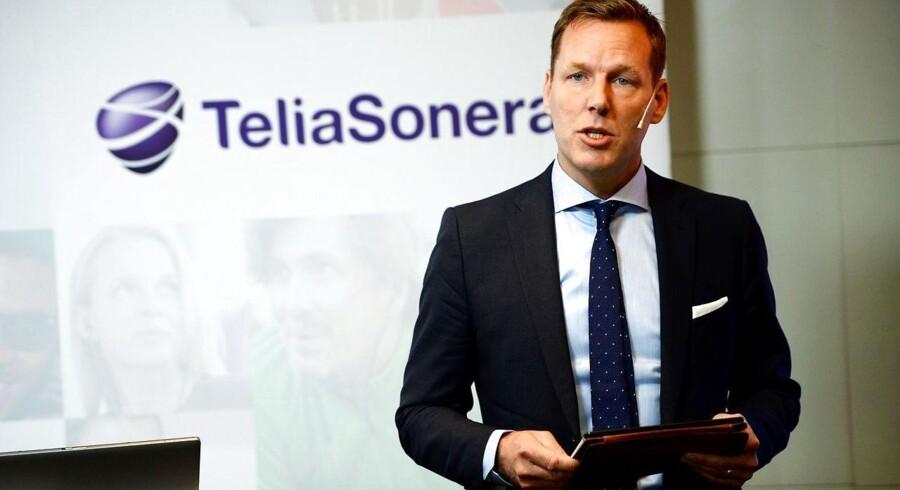 Telia-koncernens topchef, Johan Dennelind, er bekymret for den hårde konkurrence i Danmark og forudser opkøb eller fusioner. Arkivfoto: Maja Suslin, AFP/TT/Scanpix