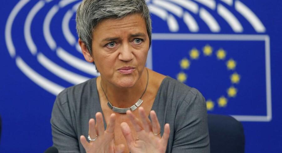 EUs konkurrencekommissær, Margrethe Vestager, understreger, at kravet om fire teleselskaber i Danmark ikke automatisk kan overføres til andre landet. Arkivfoto: Vincent Kessler, Reuters/Scanpix
