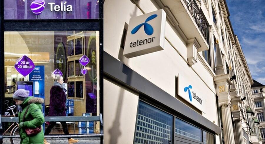 Telia og Telenor går efter at kunne spare 800 millioner kroner om året ved at lægge deres forretninger i Danmark sammen. Det vil med vished betyde, at en række af de nuværende butikker forsvinder fra gadebilledet, og at det samlede mandskab i Danmark skal reduceres, så snart en ny ledelse er på plads. Arkivfoto: Scanpix og Telenor