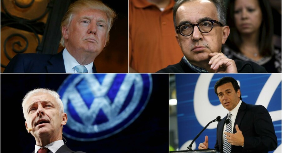Øverst tv. USAs kommende præsident Donald J. Trump, øverst th. Sergio Marchionne (Fiat Chrysler), nederst th. Mark Fields (Ford), nederst tv. Matthias Müller (VW). Byline: Rebecca Cook, Mark Blinch og Jonathan Ernst