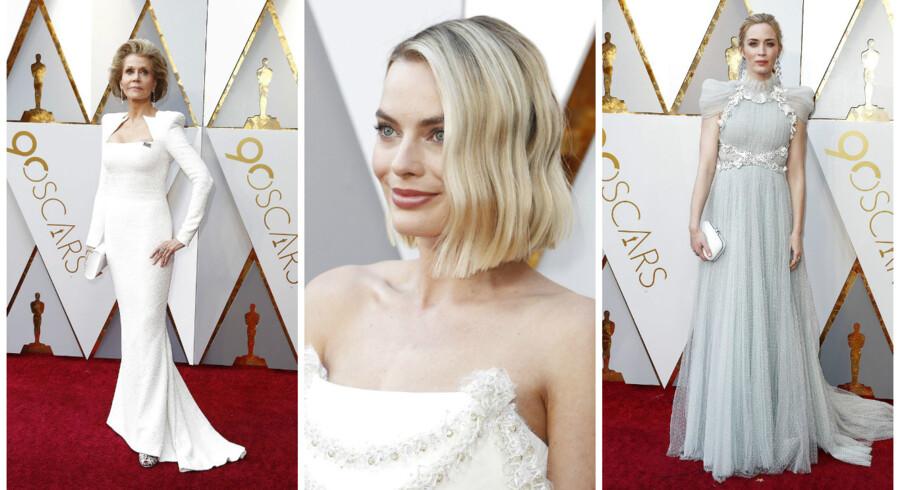 Jane Fonda, Margot Robbie og Emily Blunt mødte op i hvidt til årets Oscar-show.