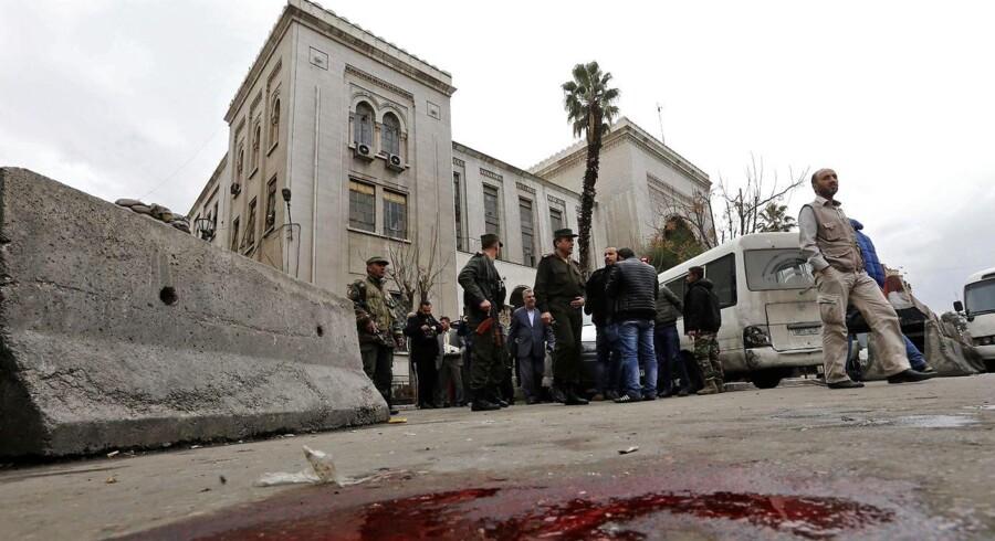 Hovedstaden i det borgerkrigshærgede Syrien, Damaskus, er blevet ramt af en selvmordsbombe. / AFP PHOTO / Louai Beshara