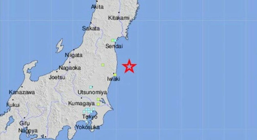 epa05641589 A handout image provided by the US Geological Survey (USGS) on 21 November 2016 shows a shakemap showing the location of a magnitude-7.3 earthquake near the east coast of Honshu, Japan, 21 November 2016. A tsunami warning has been issued. EPA/USGS / HANDOUT HANDOUT EDITORIAL USE ONLY