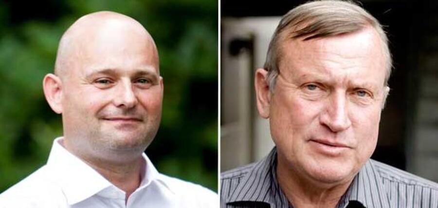 Professor emeritus ved CBS Niels Blomgren-Hansen har i Politiken sammenlignet Søren Papes (th) Viborg-affære med Farum-sagen, hvor tidligere borgmester Peter Brixtofte (th) ydede ulovlig støtte til den lokale fodboldklub. Den sammenligning bliver over for Berlingske skudt ned af to andre eksperter i offentlig forvaltning.