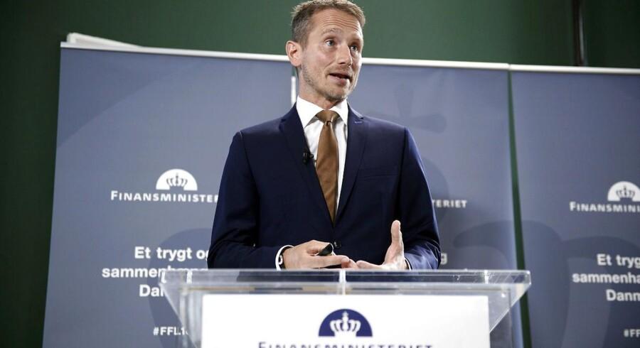 Finansminister Kristian Jensen præsenterer torsdag den 31. august 2017 regeringens forslag til finansloven for 2018 i Rentekammeret i Finansministeriet.
