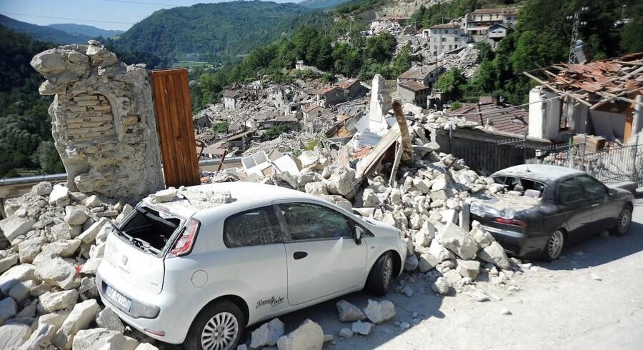 Landsbyen Pescara del Tronto efter det tragiske italienske jordskælv, der har kostet mindst 247 mennesker livet.