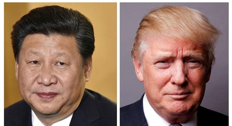 Præsident Trump skal i næste uge beværte sin kinesiske kollega, Xi Jinping (REUTERS/Toby Melville/Lucas Jackson/File Photos)
