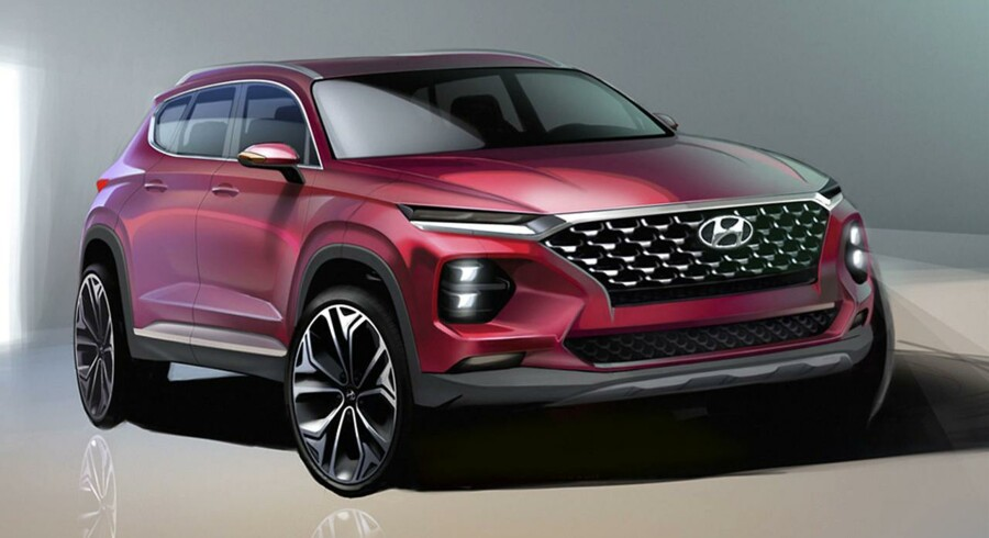 Med hilsner fra Kona. Den nye Hyundai Santa Fe er tydeligvis stærkt inspireret af den lille Kona, som netop her i januar har haft premiere hos de danske forhandlere. Den store grill, Cascading Grille, og de opdelte lygter vil give en markant anderledes SUV end den gamle udgave