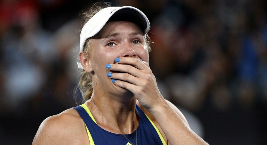 Rørende scener udspillede sig i Melbourne i minutterne efter, at Caroline Wozniacki vandt sin sejr.