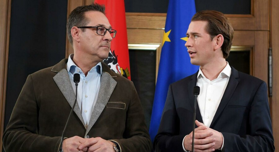 Leader of Austria's conservative People's Party (OeVP), Sebastian Kurz (R) and the Chairman of the Freedom Party (FPOe), Heinz-Christian Strache give a joint press conference in Wien, Austria on December 15, 2017. Austria's conservatives and the far-right announced on december 15, 2017 that they have agreed to form a coalition, two months after snap elections that saw the Alpine country move to the right. / AFP PHOTO / APA / ROLAND SCHLAGER / Austria OUT
