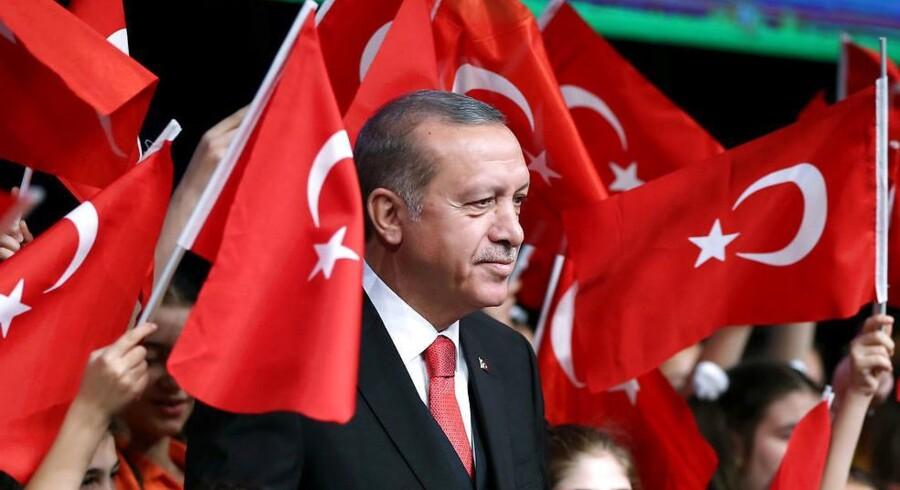 Tyrkiets præsident,´Recep Tayyip Erdogan, fejrer Børnenes Dag ved præidentpaladset i hovedstaden Ankara den 23. april 2017. (Foto: Murat Cetinmuhurdar/Presidential Palace)
