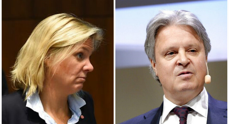 Den svenske finansminister Magdalena Andersson og Nordea-topchefen, Casper von Koskull