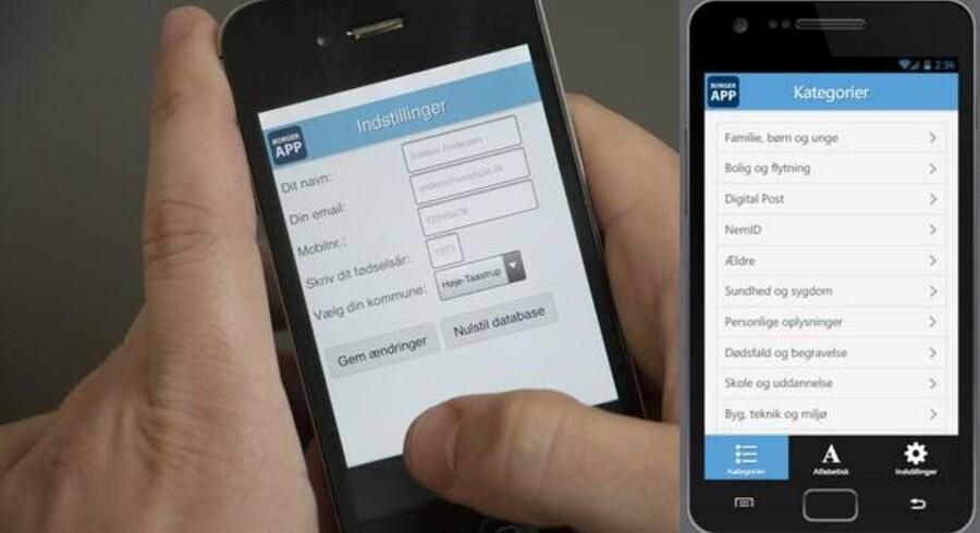 BorgerAppen virker på Android-, iOS- og Windows-telefoner og giver lettere adgang til fem kommuners selvbetjeningsmuligheder på nettet. Man behøver kun at indtaste sin kommunes navn for at komme i gang.