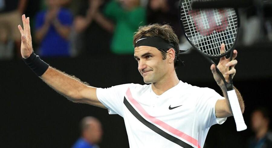 Roger Federer vandt i første runde over sloveneren Aljaz Bedene med cifrene 6-3, 6-4, 6-3. EPA/TRACEY NEARMY AUSTRALIA AND NEW ZEALAND OUT