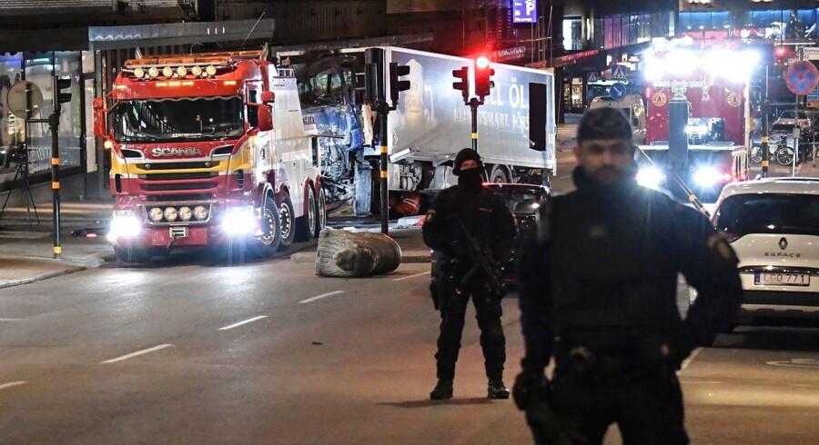 Billede fra fredagens angreb i Stockholm.