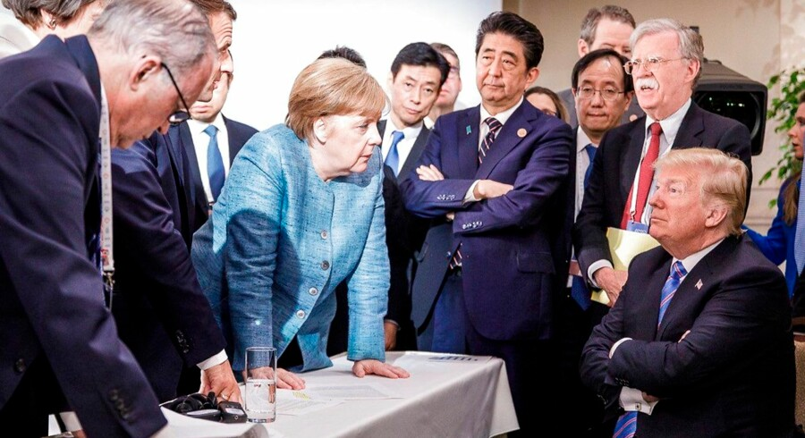 Historisk: Den tyske embedmand Steffen Seiberts Twitter-foto fra G7-topmødet går verden rundt. AFP PHOTO / Bundesregierung / Jesco