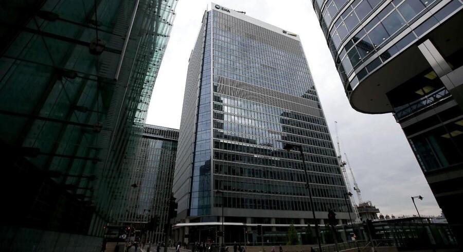 EUs lægemiddelagentur - European Medicines Agency (EMA) - ligger i dag i business-kvarteret Canary Wharf i det østlige London. EU-landene kæmper indædt efter at få EMA til netop deres land, når briterne forlader EU. / AFP PHOTO / Daniel LEAL-OLIVAS
